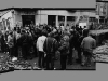 East Berlin residents gathering after battle between police and squatters, Mainzerstrasse, Berlin, 1990